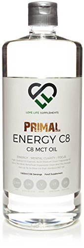 Primal Energy C8 MCT Oil by LLS | 1000ml Bottle (Now With Easy-Pour Flip...