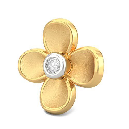 14K Or jaune 0.05CT TW White-diamond (IJ | SI) Boucles d'oreille à tige