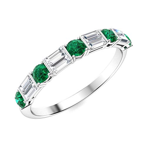 Diamondere Natural and Certified Emerald and Baguette Diamond Wedding Ring in 14K White Gold | 0.79 Carat Half Eternity Stackable Band for Women, US Size 5.5
