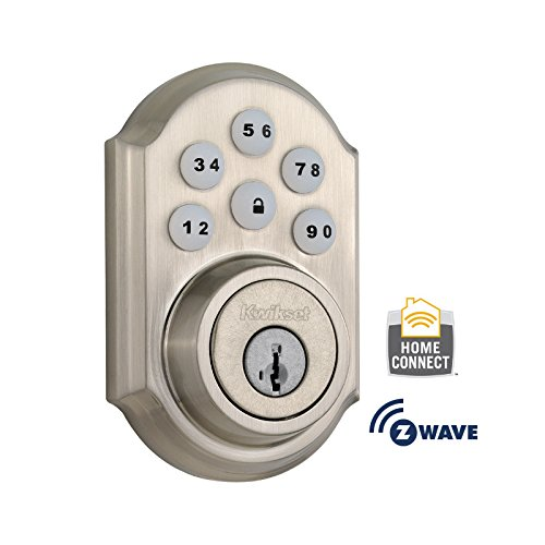 Kwikset 910 Z-Wave SmartCode Electronic Touchpad Deadbolt, Works with Amazon Alexa via SmartThings, Wink, or Iris featuring SmartKey in Satin Nickel