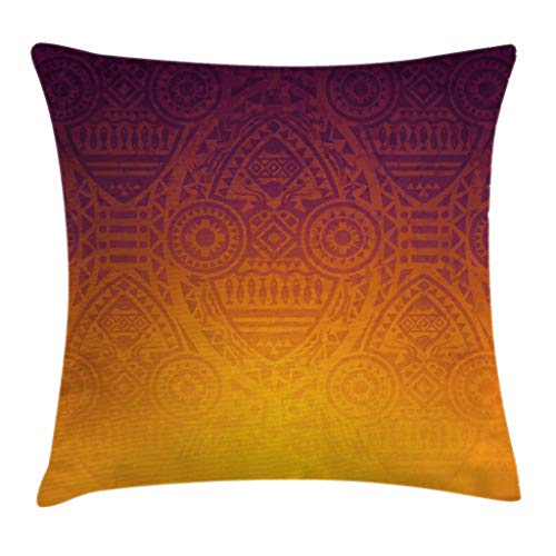 """Ambesonne Ethnic Throw Pillow Cushion Cover, Mysterious Wall Motifs Ceremonial Mystical Artwork, Decorative Square Accent Pillow Case, 20"""" X 20"""", Orange Purple"""