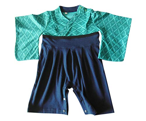 FANCYKIDS Baby Infant Toddler Boys Japanese Kimono Samurai Costume Outfit Romper (Turquoise, 6 to 9 Months) -