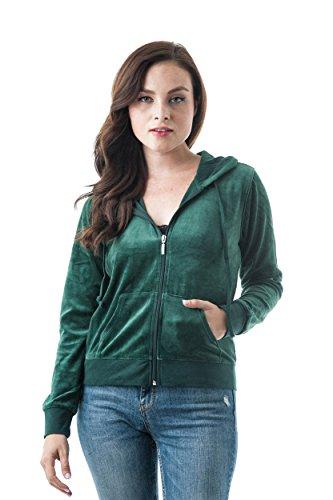 Long Jacket Sleeve Velour - Khanomak Women's Velvet Velour Long Sleeve Drawstring Hoodie Front Pockets Sweater Jacket (Large, Hunter Green)