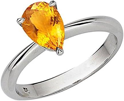 3 ct Poire Orange Citrine Bague Femmes Mariage Bijoux Cadeau 14K Blanc Plaqué Or