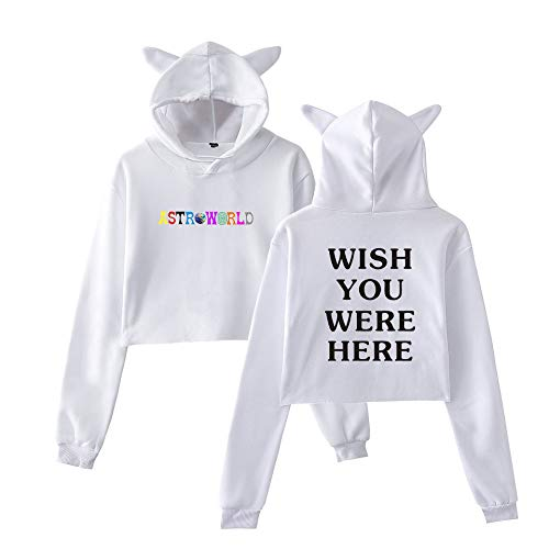 JJZHY Travis Scotts -Hot Astroworld Cute Cat Ear High Waist Hoodie Crop Top Woman,White,XL