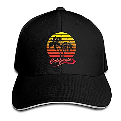 California 80s Sunset Adjustable Baseball Sandwich Hat Cap for Unisex