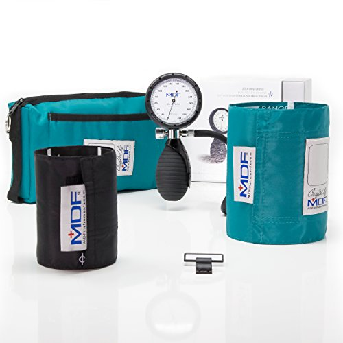 MDF® Bravata® Palm Aneroid Sphygmomanometer - Blood Pressure Monitor with Adult & Pediatric Sized Cuffs Included - Full Lifetime Warranty & Free-Parts-For-Life - Teal (MDF848XPD-16)