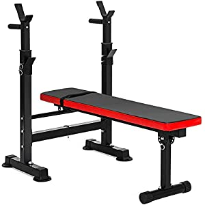 BalanceFrom Multifunctional Workout Station Adjustable Olympic Workout Bench with Squat Rack, Leg Extension, Preacher Curl, and Weight Storage