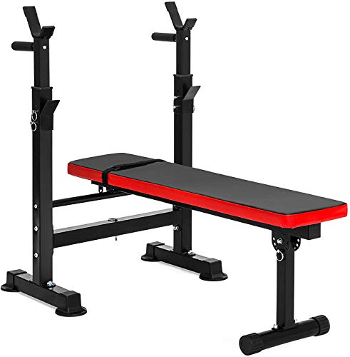 BalanceFrom Multifunctional Workout Station Adjustable Olympic Workout Bench with Squat Rack, Leg Extension, Preacher…