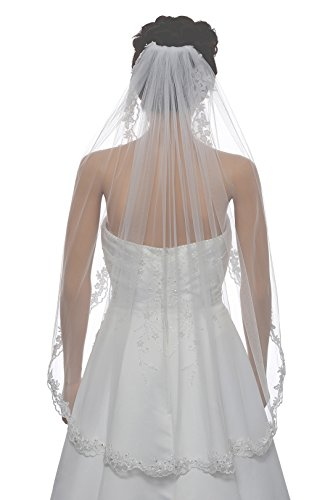 "1T 1 Tier Flower Scallop Embroided Lace Pearl Veil - White Fingertip Length 36"" V466"
