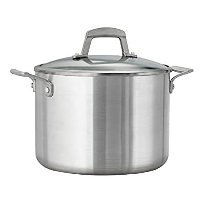 Tramontina Professional Covered Stock Pot,Glass Lids, Satin Finish, Made in USA, 8-Quart