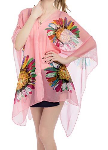 (Women's Chiffon Scarve Shawls Wraps Qunsia Floral Poncho Bikini Cover up Tops)
