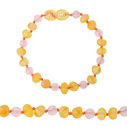 Genuine Amber - Baby Unisex Teething Anklet/Bracelet - Raw Not Polished 100% Natural Baltic Amber Beads - Knotted Between Beads - with Plastic Screw Clasp (Pink Honey, 4.7 inches)