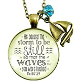 """24"""" Christian Nautical Necklace He Caused the Storm To Be Still God's Promise Bronze Jewelry For Women Gift Card"""
