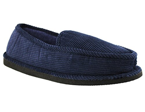 Mens Corduroy Loafer Slipper Marine