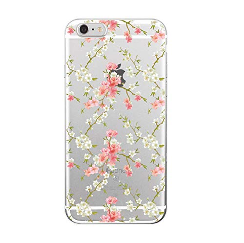 for iPhone 7 7Plus 6 6S XS Max 5 5S 8 8Plus X Floral Flowers Rose Pattern Cute Soft Transparent Silicon Printed Cherry Blossom,17,for iPhone ()