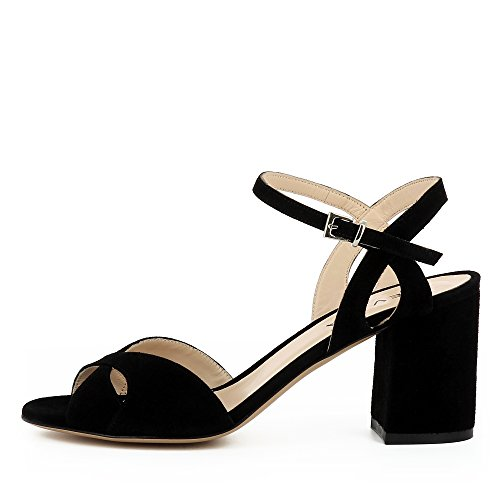 Evita Shoes Samanta Damen Sandalette Rauleder Schwarz
