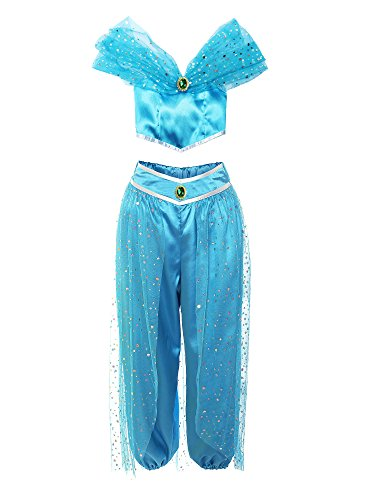 ReliBeauty Girls Sequin Pant Set Princess Costume, Blue, (Child's Princess Jasmine Costume)
