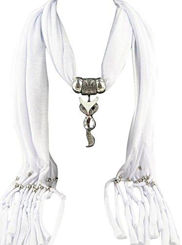 Jemis Women' s Fox Alloy Jewelry Pendant Scarf 70*16 Inch