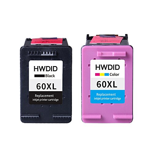 HWDID Remanufactured Ink Cartridge Replacement for 60 xl High Yield (1 Black 1 Color) CC641WN CC643WN for Photosmart C4680 D110 Deskjet F2430 F4580