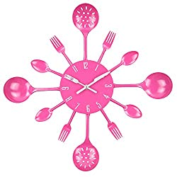Wall Clock, Timelike 16 Metal Kitchen Cutlery Utensil Spoon Fork Wall Clock Creative Modern Home Decor Antique Style Wall Watch (Pink)