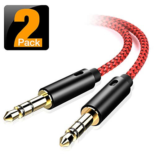 AUX Cable, [2-Pack,4ft,Hi-Fi Sound Quality] 3.5mm Auxiliary Audio Cable Nylon Braided AUX Cord for Car/Home Stereos,Speaker,iPhone iPod iPad,Headphones,Sony Beats,Echo Dot & More