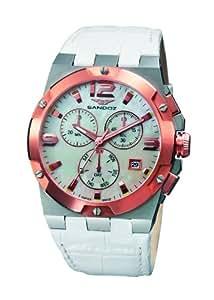 Sandoz 81258-50 - Reloj de mujer de cuarzo, correa de piel color blanco