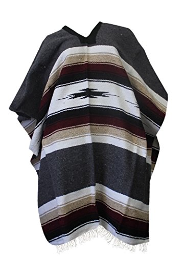Del Mex Mexican Diamond Woven Eastwood Poncho (Charcoal Gray)]()