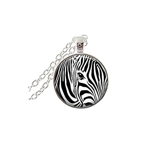 Zebra Print Necklace Animal Jewelry Zebra Jewelry Glass Tile Jewelry Silver Jewelry (Zebra Print Glasses)