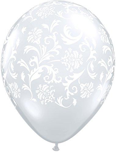 Pioneer Balloon Company 37507 DAMASK PRINT - DIAMOND CLEAR W/WHITE INK 11