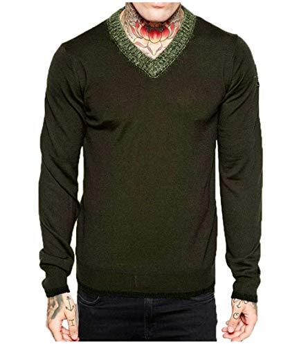 (Diesel Men's Olive Green K Gitika Contrast Knitted V Neck Sweater)