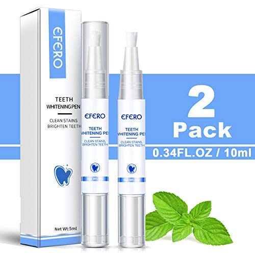 2 Pack Teeth Whitening Pen (0.34FL.OZ) – 20+ Uses, Painless, No Sensitivity, Travel-Friendly, Effective For Removes…