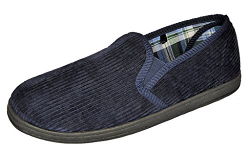 Hombre Zapatillas de corderoy elastizado escudete con tecnología antibacteriana, purina azul marino