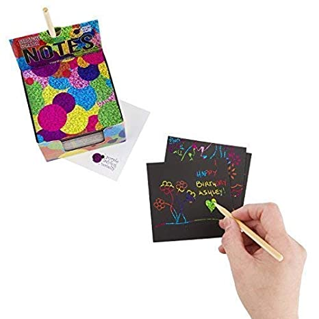 2 Stylus Pens Kit: 150 Sheets of Holographic Scratch Paper for Kids Arts and Crafts Girls or Anyone! Holographic Scratch Off Mini Notes Plane or Travel Toys Cute Unique Gift Idea for Kids