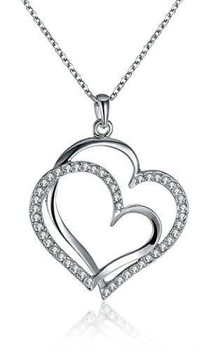 Red Heart Necklace Glass (Silver Large Double Heart Pendant Necklace for Women Girl Zircon White Gold Plated Jewelry)