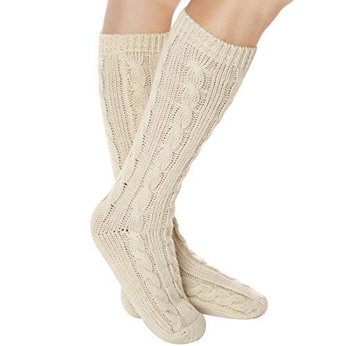 Ivory Knee Sock (Women Slipper Crew Floor Non Skid Socks House Cable Knit Leg Warmers Knee High Length for Winter Solid Ivory)