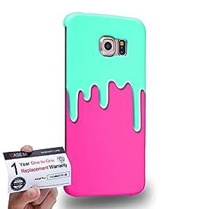 Case88 [Samsung Galaxy S6 Edge] 3D impresa Carcasa/Funda dura para & Tarjeta de garantía - Art Fashion Aqua & Pink Meltdown Silicone