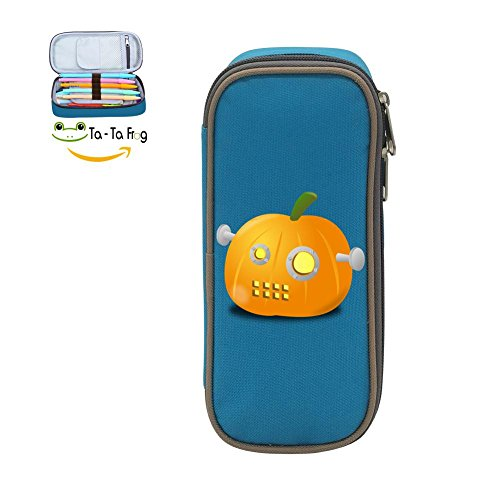 MOPE Halloween Pumpkin Robot Pencil Case Double Zipper Large Storage Space Mulit-function Stationary Portable Makeup Bag]()