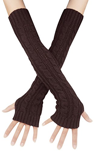 Bellady Womens Lady's Fingerless Design Thumb Hole Arm Warmer Gloves, Coffee