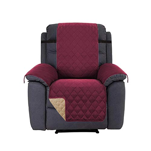 Place Home Fashion Reversible Quilted Plush Furniture Protector Adjustable Elastic Straps, Features Cozy Efficient, Soft Suede-Like (Recliner: Burgundy/Tan) - 79'' X 68'' ()