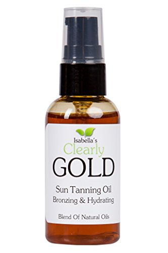 Isabella's Clearly GOLD, Best Natural Bronzing Tanning Oil. Moisturizing & Hydrating. Accelerate Sun Tan, Healthy Glow, Moderate SPF Sunscreen Protection. Olive, Carrot, Coconut Oils, 2 - Tanning Oils Best
