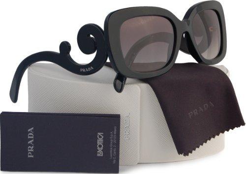 Prada SPR27O Baroque Sunglasses Shiny Black w/Grey Gradient (1AB-3M1) PR 27OS 1AB3M1 54mm (3m1 Prada Sunglasses)