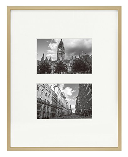 11x14 Gold Aluminum Metal Collage Frame with Ivory Mat - Displays Two 4X6 Photos - Real Glass, Sawtooth Hangers, Swivel Tabs, Metal - Wall Mounting, Landscape, Portrait (Gold)
