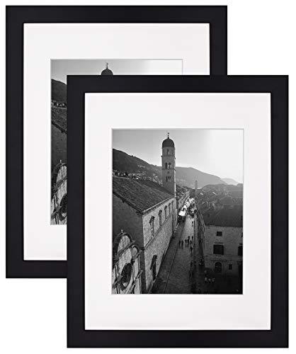Golden State Art,Black 11x14 Photo Wood Frame with 8x10 Mat (2 Frames per Box)