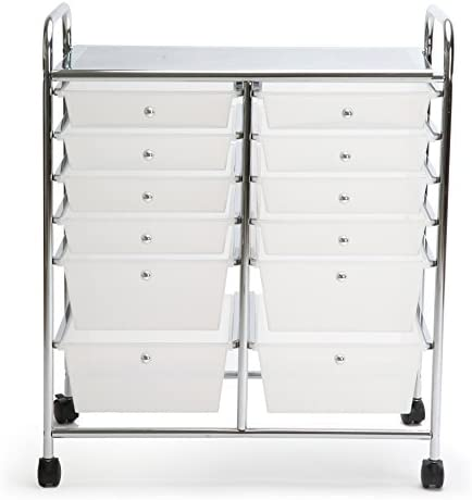 Finnhomy 12 Drawer Rolling Cart Organizer,Storage Cart with Drawers, Utility Cart for School, Office, Home, Beauty Salon Storage, Semi-Transparent White