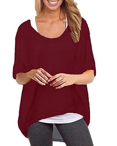 ZANZEA Women's Batwing Short Sleeve Off Shoulder Loose Oversized Baggy Tops Sweater Pullover Casual Blouse T-Shirt Wine Red M