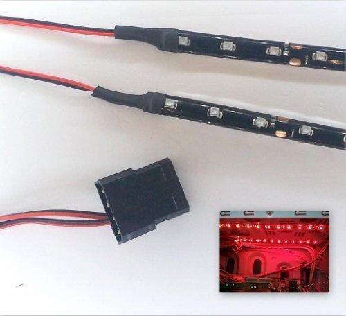 LED-Licht-Set für PC-Gehäuse, 2-20cm, Molex rot kräftiges Rot 40 cm