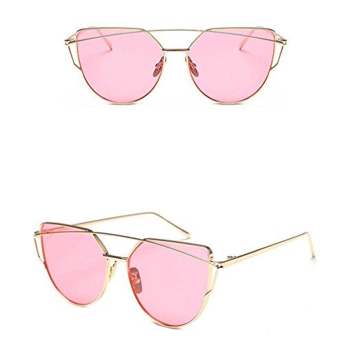 Lunettes De Soleil Femme, Bonjouree Lunettes Mode Twin-Beams Miroir Cadre Métallique Rose B