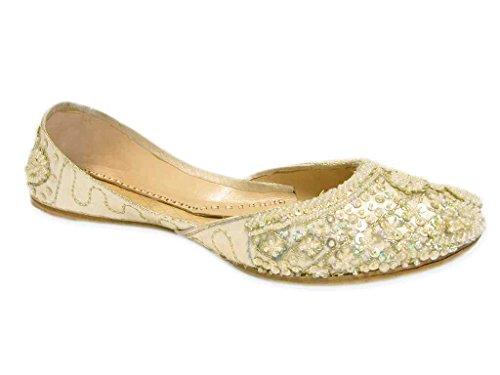 Light Lemon Cream Beaded Wedding Flats Khussa Indian Bridal Shoes Size 8