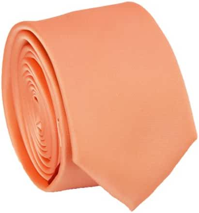 Solid Salmon Slim Tie . 2.25' inch wide